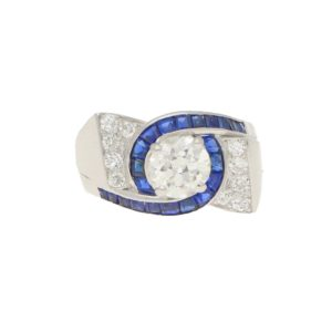 Oscar Heyman for Gumbiner Art Deco Diamond Sapphire Twist Ring