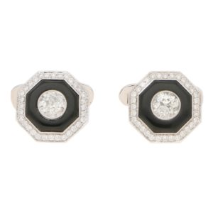 Art Deco-Style Diamond and Onyx Target Cufflinks in Platinum