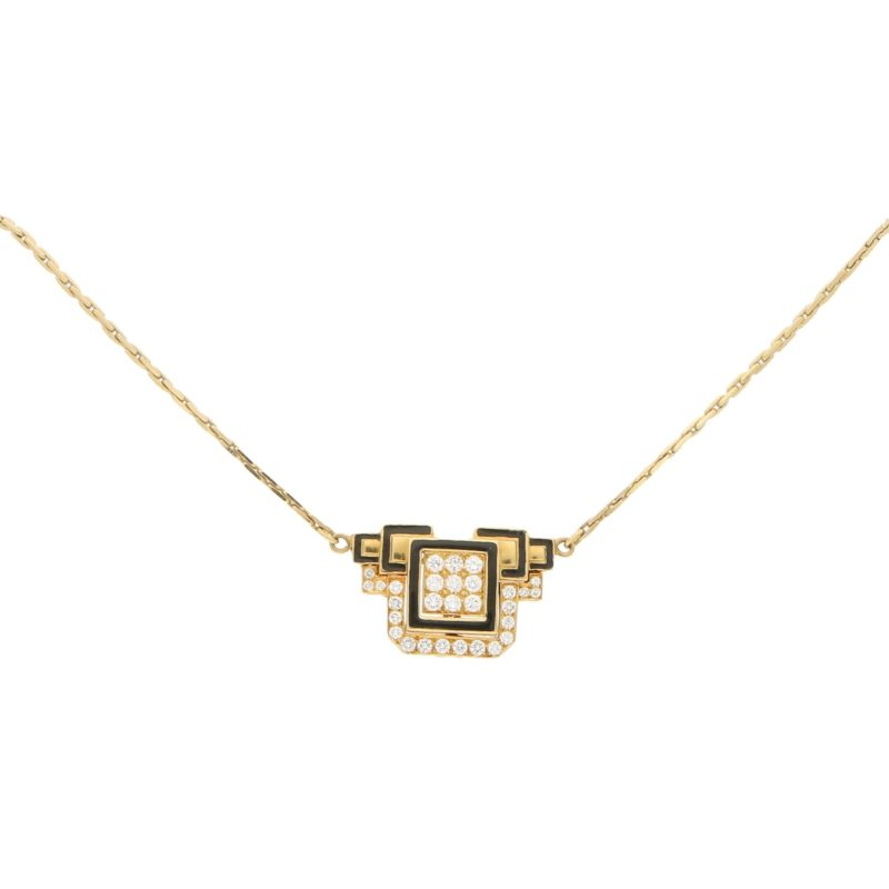 David Webb Diamond Enamel Necklace Yellow Gold Platinum