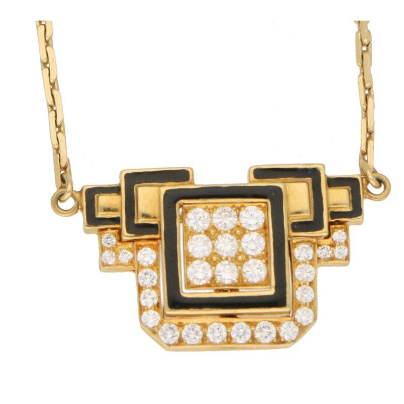 David Webb Diamond Enamel Necklace Yellow Gold Platinum, c.1970