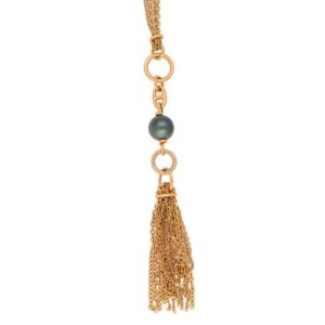 Hermès Chain d'Ancre Black Pearl Diamond Sautoir Tassel Necklace