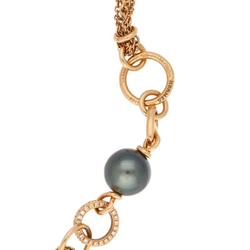 Hermès Chain d'Ancre Black Pearl Diamond Sautoir Tassel Necklace