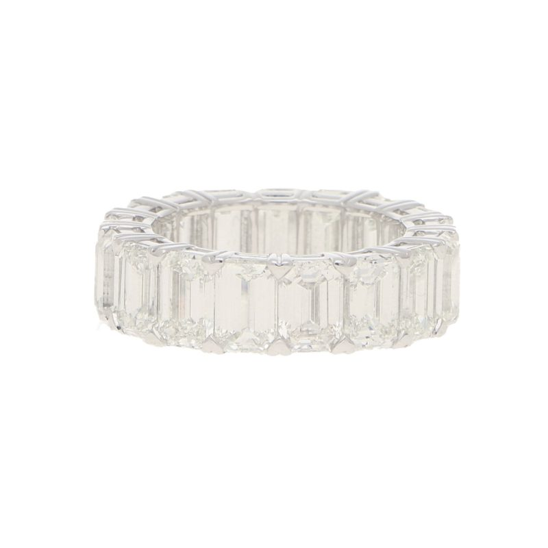 12.53ct Emerald-Cut Diamond Full Eternity Ring in Platinum