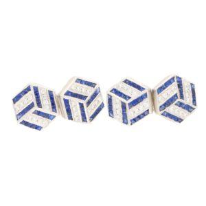 Diamond Sapphire Optical Illusion Hexagonal Cufflinks Platinum
