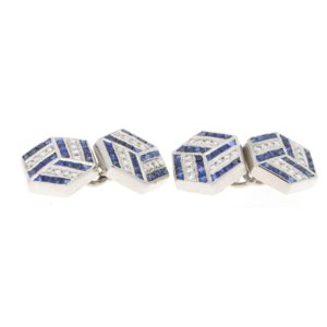 Diamond Sapphire Optical Illusion Hexagonal Cufflinks Platinum