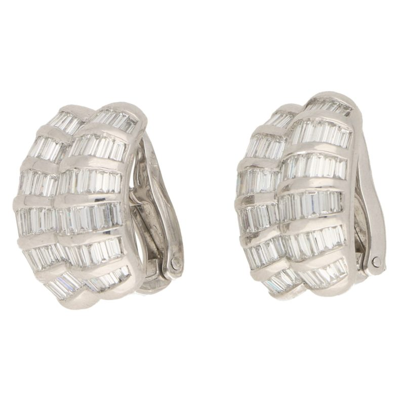Baguette Diamond Earclips