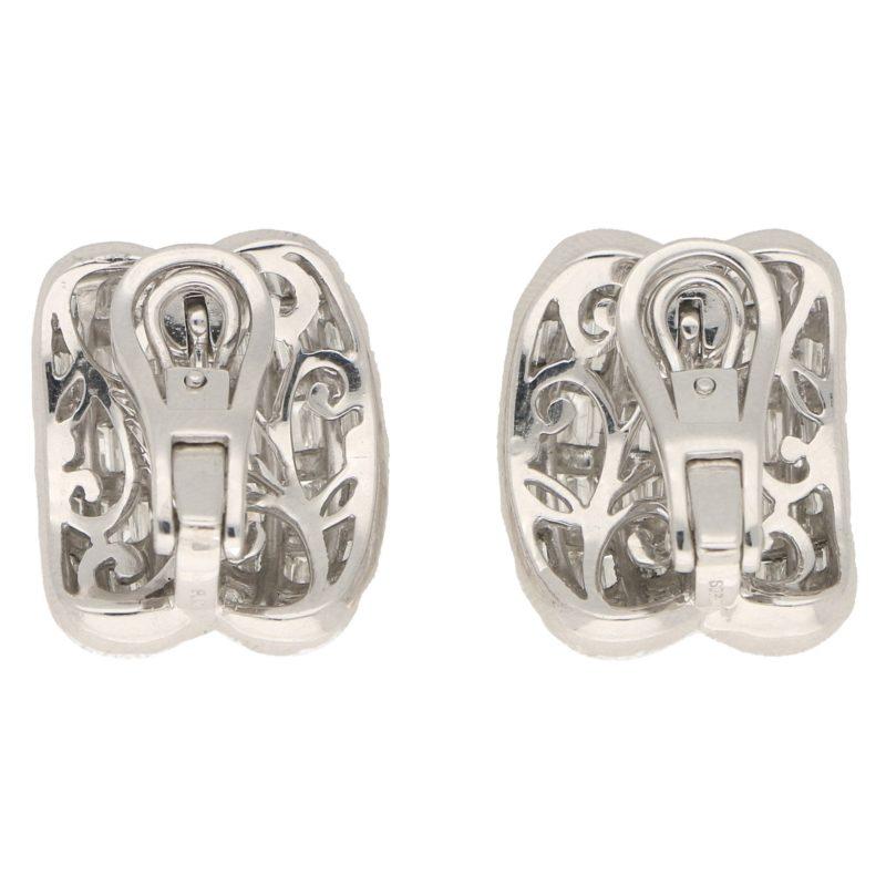 Baguette-Cut Diamond Double Dome Clip Earrings in Platinum