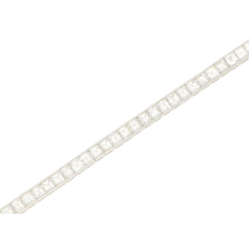 10.17ct Carre-Cut Diamond Line Bracelet in Platinum