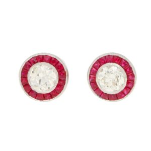 Art Deco-Style Diamond and Ruby Target Earrings in Platinum
