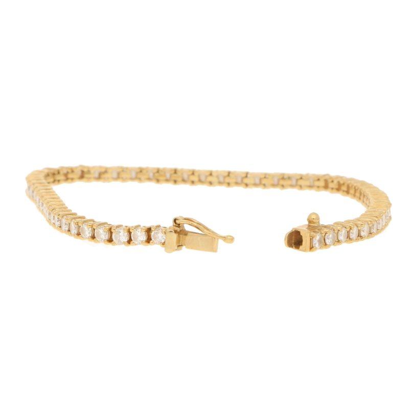 3.0ct Claw-Set Round Diamond Line Bracelet in 18ct Yellow Gold