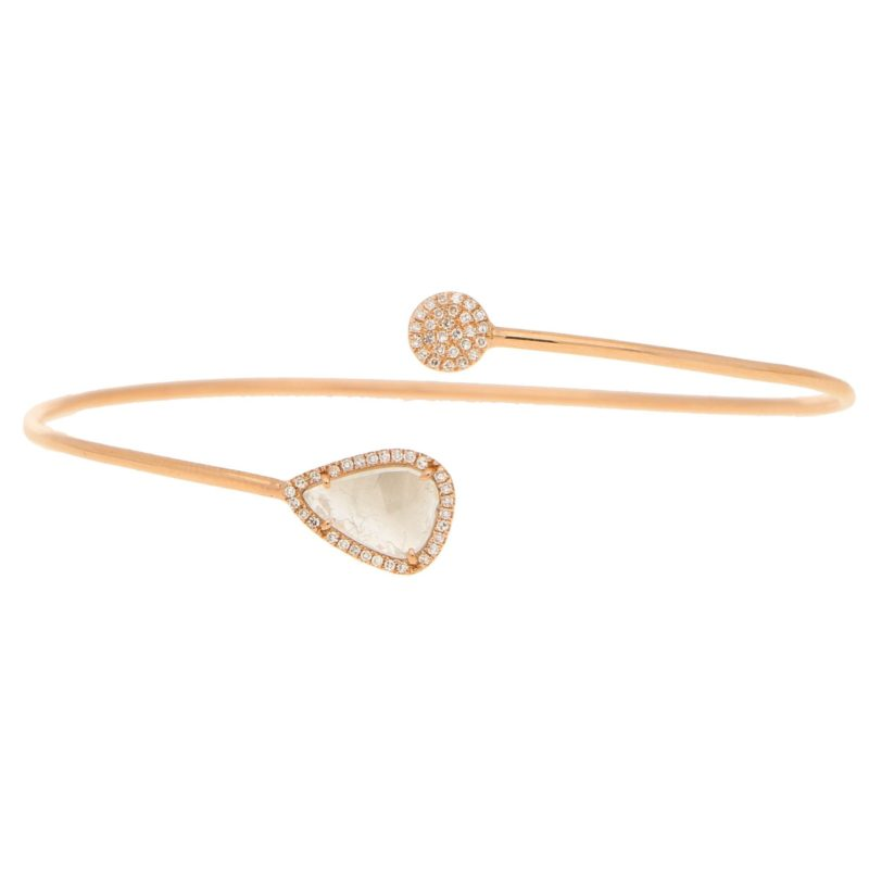 Rose-Cut Diamond Cuff Bracelet in 14kt Rose Gold
