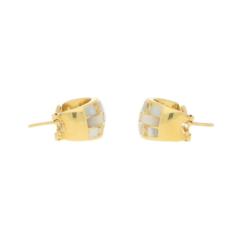 Italian Mother-of-Pearl and Diamond Hoop Earrings in Yellow Gold
