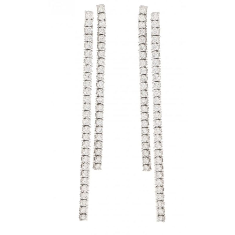 Diamond double line drop earrings