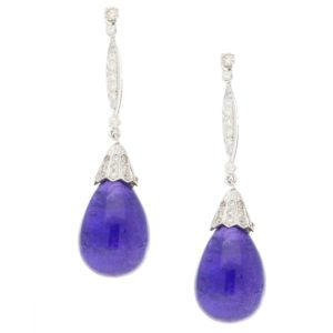 Cabochon Tanzanite and Diamond Drop Earrings in White Gold