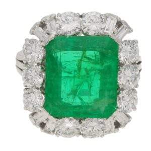 7.70ct Zambian Emerald and Diamond Cluster Cocktail Ring
