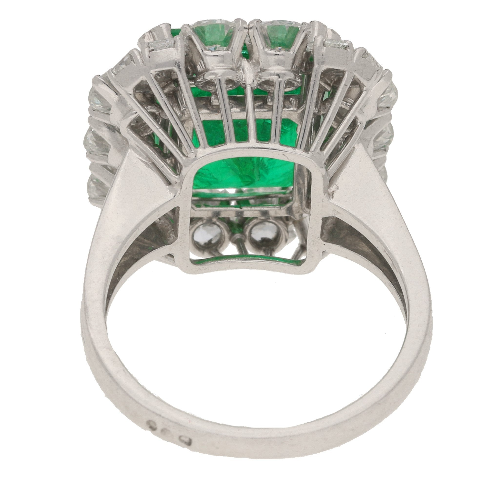 7 70ct Zambian Emerald And Diamond Cluster Cocktail Ring