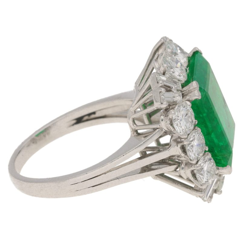 7.70ct Zambian Emerald and Diamond Cluster Cocktail Ring, 1960s