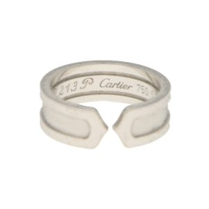 Double C Plain Ring in White Gold