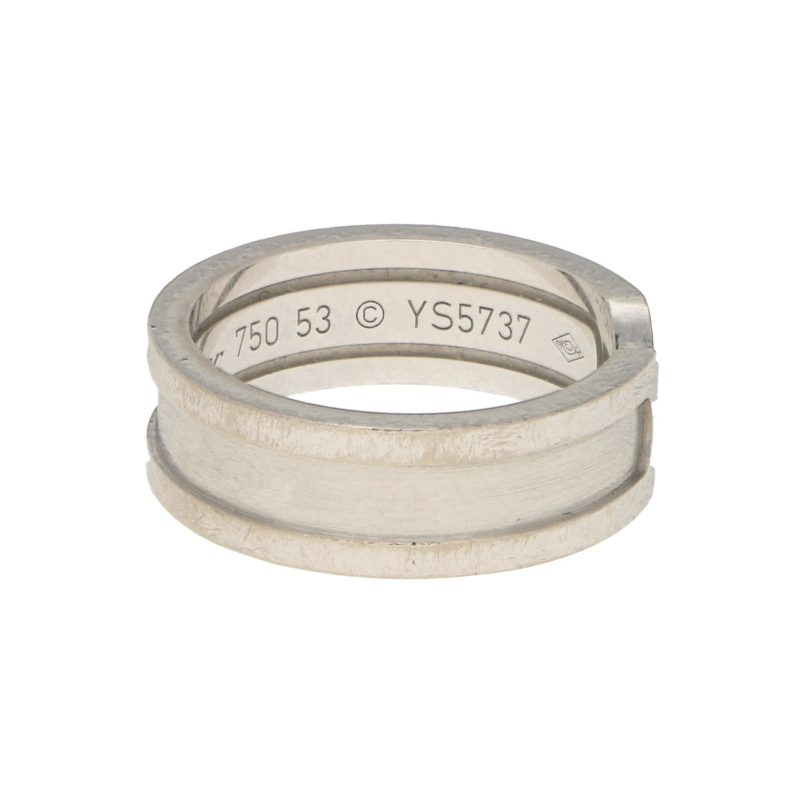 Vintage Cartier Double C Ring in White Gold