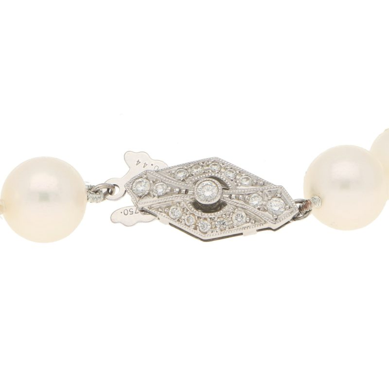 Vintage Akoya Cultured Pearl Necklace Diamond Clasp White Gold