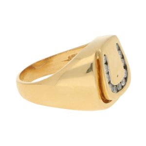 Vintage Diamond Horseshoe Signet Ring in Yellow Gold
