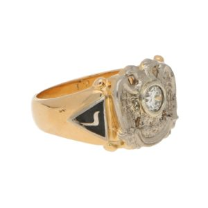 Vintage Diamond and Enamel Masonic Eagle Ring
