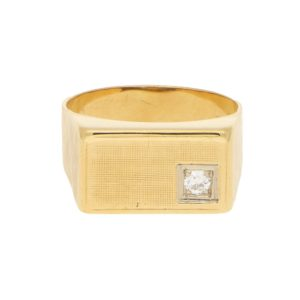 Vintage Rectangular Diamond Signet Ring Yellow and White Gold