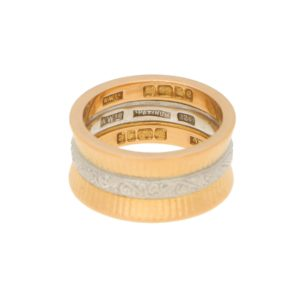 Vintage Greek Column Wedding Band Rose Gold Platinum, circa1960