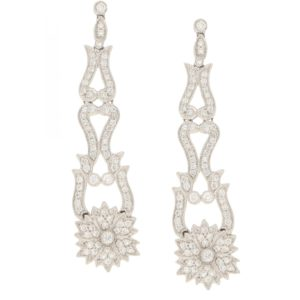Pair of diamond pendent earrings