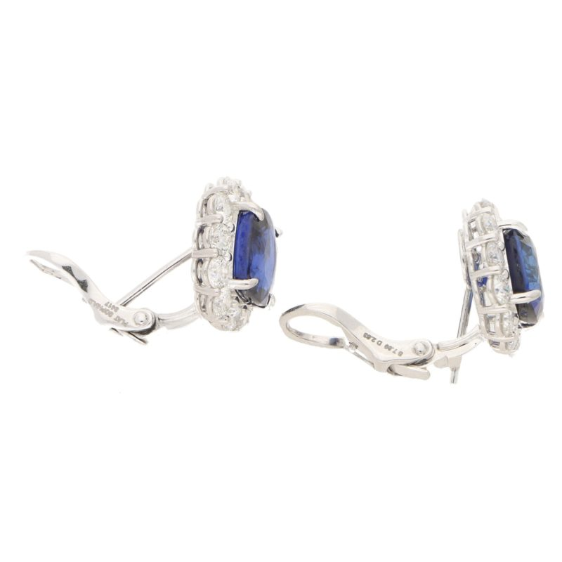 Sapphire and Diamond Cluster Stud Clip Earrings Platinum