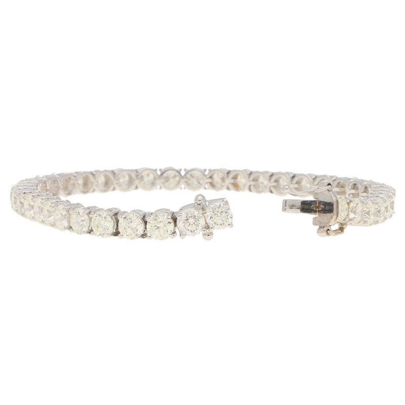 12.38ct Round Brilliant-Cut Diamond Line Bracelet in White Gold
