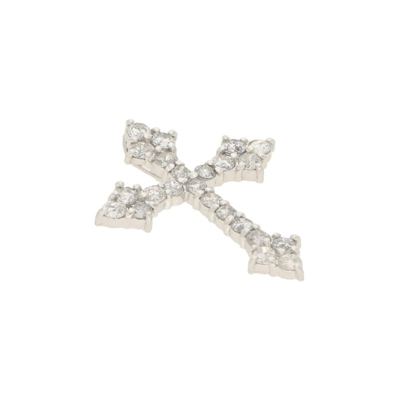 Stylized Diamond Cross Pendant in Platinum