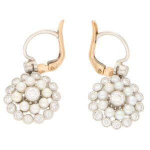 Elegant pearl and diamond pendent earrings