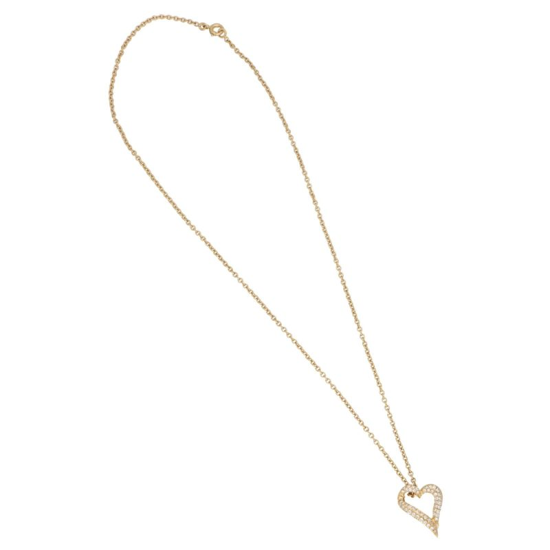 Boucheron pave set diamond heart pendant on chain