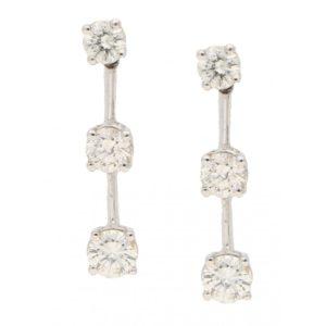 Diamond Station Earrings in White Gold