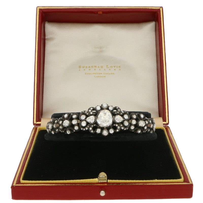 Rare Georgian 4.5ct Rose-Cut Diamond Bracelet Silver-on-Gold