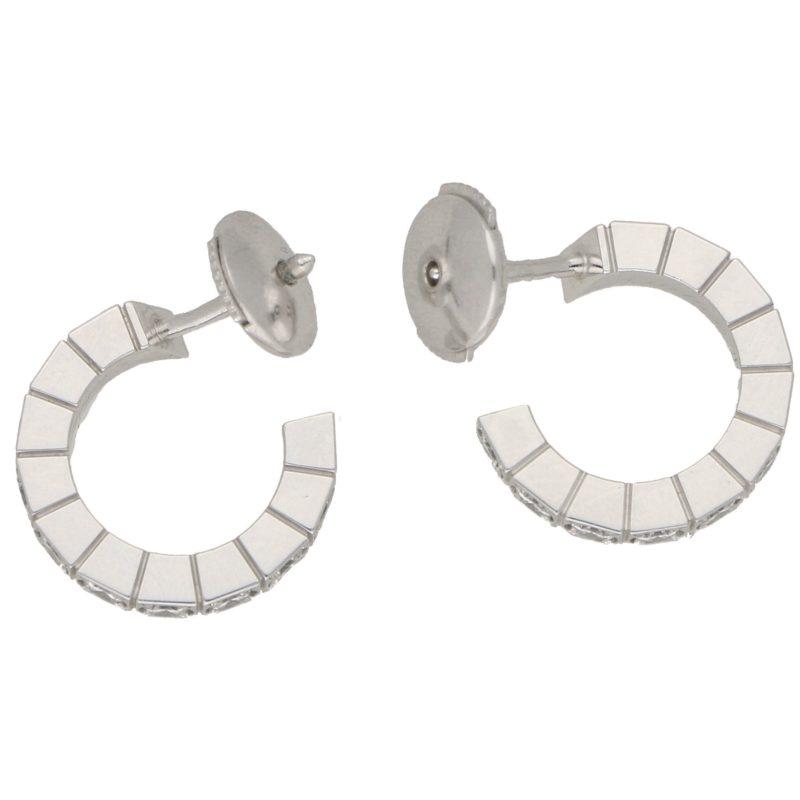 Cartier 'Laniere' 18 Karat Gold Hoop Diamond Set Earrings