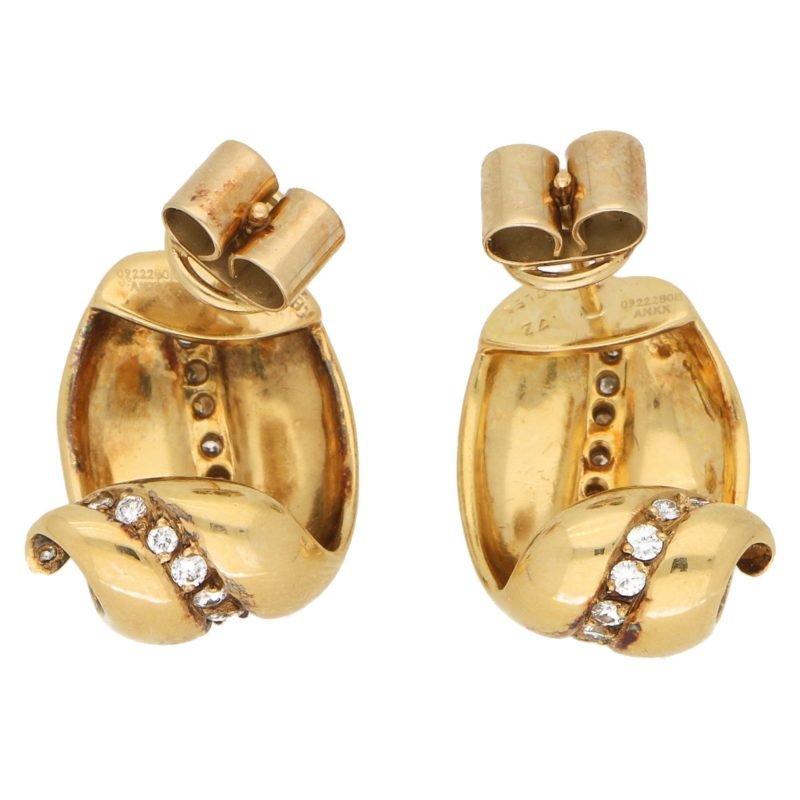 Vintage Boodles Diamond Leaf Earrings in Yellow Gold