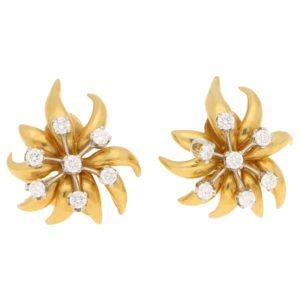 'Flame' Schlumberger Diamond Ear Clips