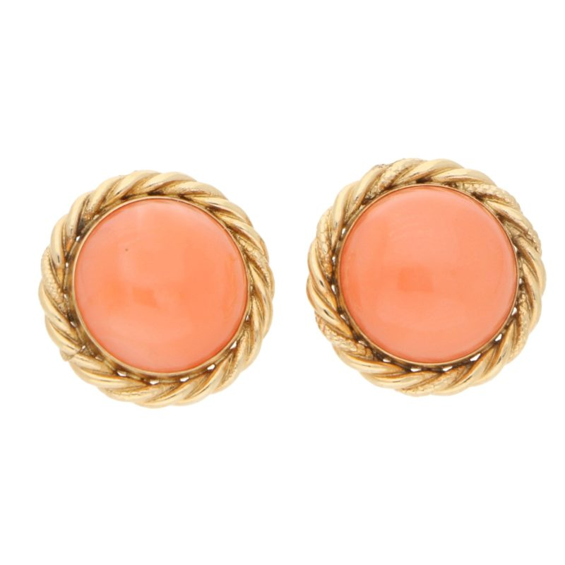 Orangy-Pink Coral Stud Earrings in Yellow Gold