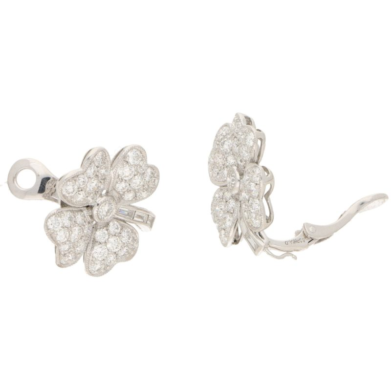 7.36ct Diamond Clover Earrings/Pendants in Platinum