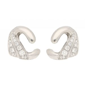Vintage Swan Diamond Ear Clips in White Gold