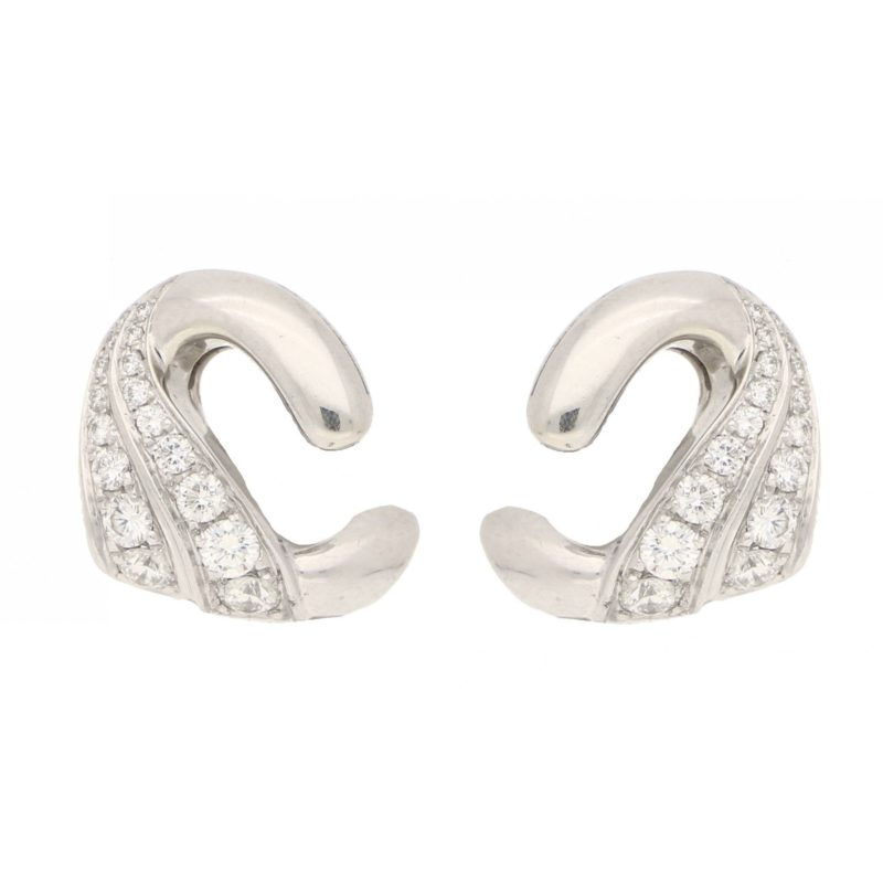 Vintage Bulgari Swan Diamond Ear Clips in White Gold