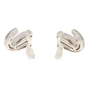 Vintage Bulgari Swan Diamond Ear Clips in White Gold