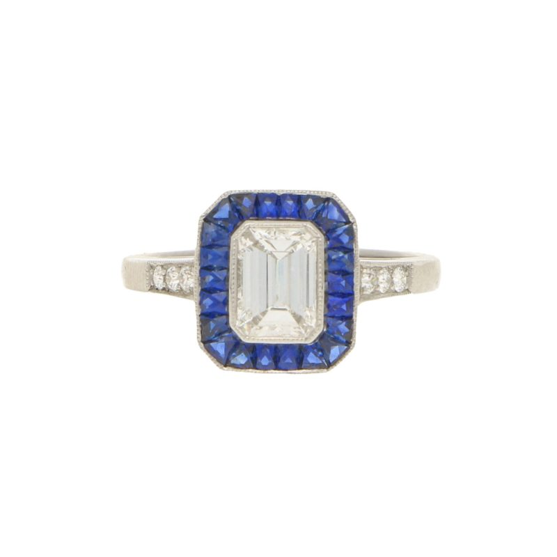 Emerald-Cut Diamond and Sapphire Target Ring