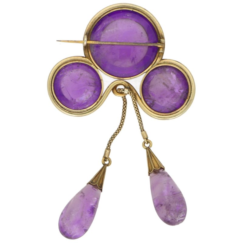 Victorian Amethyst Negligee Brooch in Yellow Gold