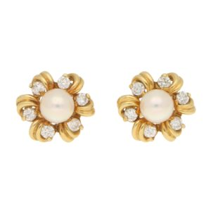 Pearl and Diamond Fancy Cluster Stud Earrings Yellow Gold