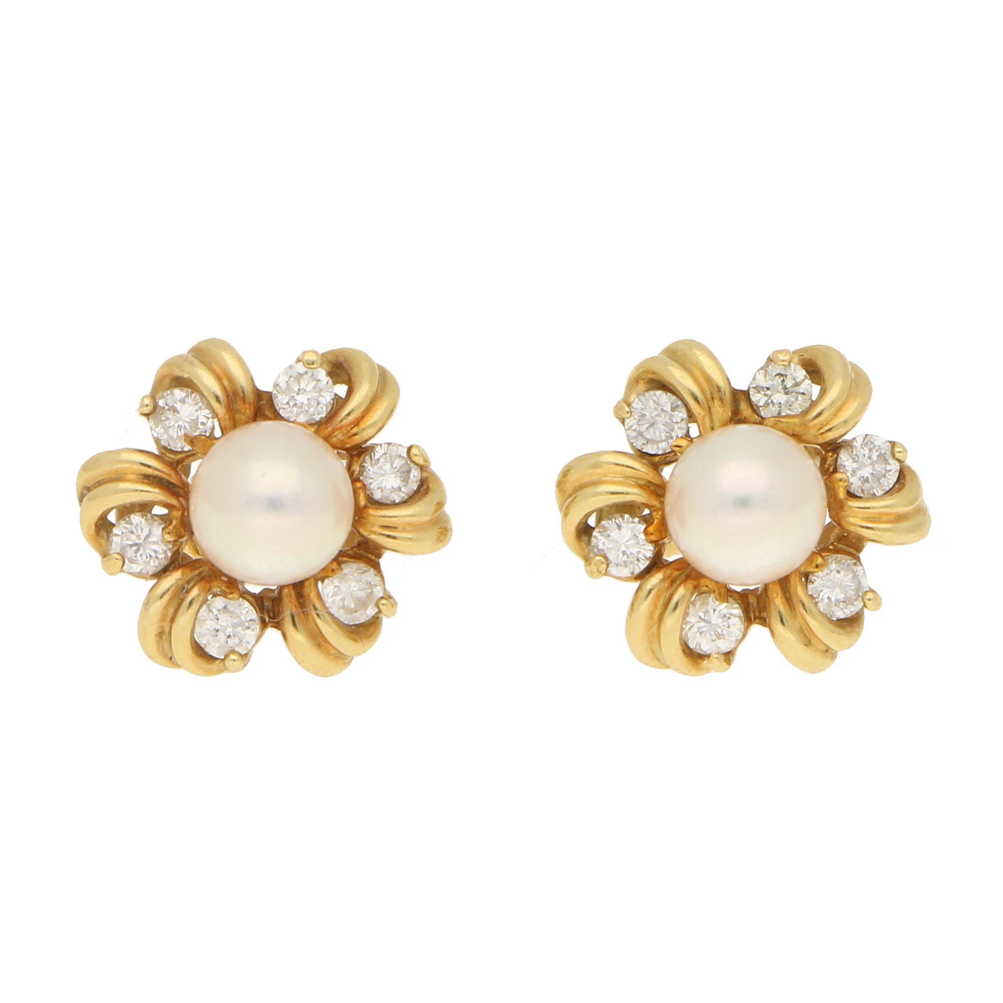 Pearl And Diamond Fancy Cer Stud Earrings Yellow Gold