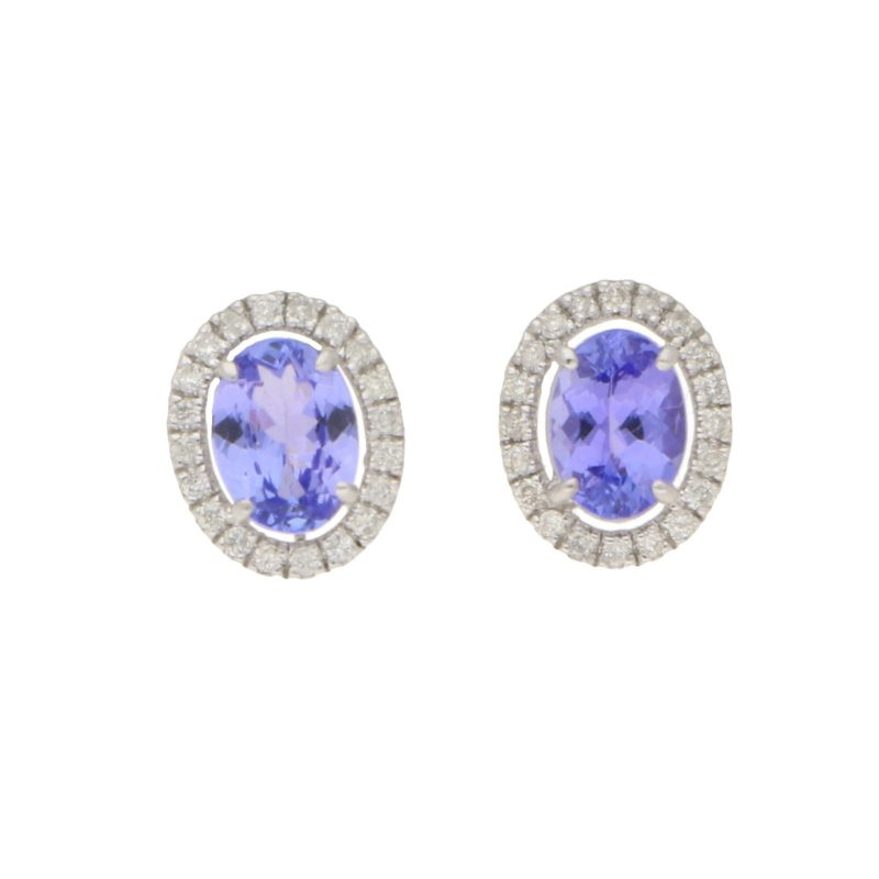 Oval Tanzanite and Diamond Cluster Stud Earrings White Gold