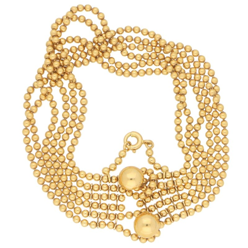 Draperie Six-Row Bead-Link Bracelet in Yellow Gold, 1990s